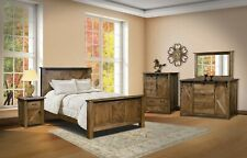 Amish Rustic 5-Pc Bedroom Set Sliding Barn Doors X-Brace Solid Wood Queen King