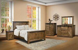 Amish Rustic 5-Pc Bedroom Set Sliding Barn Doors X-Brace Solid Wood Queen King