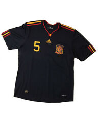 Vintage Spain Jersey 2010 World Cup Winner Carles Puyol Away Shirt Adidas Footba