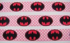 "BB Ribbon BATMAN PINK BATGIRL 1m grosgrain 7/8""superhero girls hair bow"