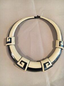 Vintage Monet Gun Metal Style Choker Collar Necklace Cream Enamel Statement