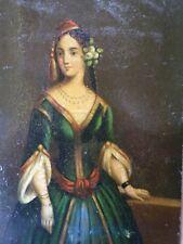 Ecole de L'Est XVIII/XIXe-Huile sur cuivre-Portrait femme-miniature-oil