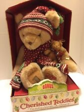 Enesco Cherished Teddies Plush 2002 Teddie With A Heart Ornament Baby Bear New