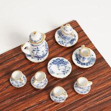 Cute Dollhouse Miniature Furniture Mini Blue And White Tea Set