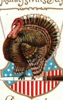 1908 Patriotic Thanksgiving Day Greetings Turkey Postcard Pettyjohn Lewes DE