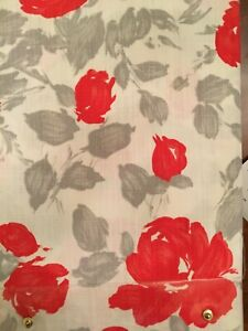 KATE SPADE GARDEN ROSE TABLECLOTH 60 x 84 GRAY CORAL RED IVORY FLOWER FLORAL NEW
