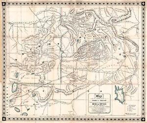 "1864 Mining Map Gold Silver in Idaho and Oregon Boise & Owyhee 11""x13"" Art Print"