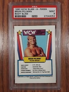 1990 WCW Slam-A-Rama Flyin Brian Pillman Rookie Wrestling Game Card PSA 9 WWE '