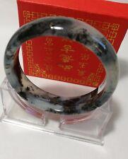 Certified genuine natural Green black ink Jade Bangle Dia58-- 62mm