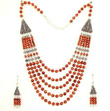NATURAL BROWN SUN STONE GEMSTONE  NECKLACE & EARRINGS 86 GRAMS