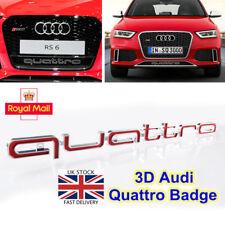 Rojo Emblemas Insignia para Audi QUATTRO A3 A4 Avant A6 S3 S4 S5 RS3 RS5 RS6 Q3