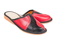 Womens Ladies 100% Black & Red Leather Slippers Mules Clogs All Sizes