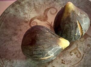 "Pair (2) Vintage Italian Purple Alabaster Marble Stone Fruit Figs 3"" With SLITS"