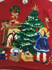 Ugly Christmas Sweater L Red Trimming Tree Tiara Intl 1995