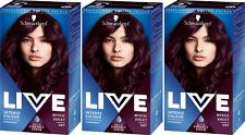 3x Schwarzkopf Live Intense Colour 87 Mystic Violet
