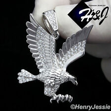 MEN 925 STERLING SILVER LAB DIAMOND ICED OUT BLING 3D EAGLE CHARM PENDANT*SP149