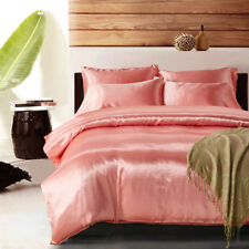 1800 Count Ice Silk Satin King Queen Twin Quilt Cover Set Fitted no Bed Sheet