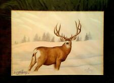 SIGNED MATTED PRINT BY COCHITI ARTIST DOMINIC ARQUERO *DEER IN SNOW * DATED 02
