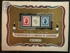 1945 Luxembourg Souvenir Postcard FDC Cover 1st Anniversary Of Liberation