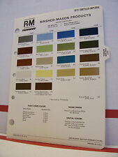 1973 Chrysler Newport New Yorker Valiant Charger Paint Chips Color Chart R-M 73