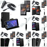 Lot Etui Housses Coque Cuir PU Portefeuille Chargeur Voiture Seri Sony Xperia