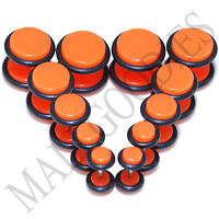 "V112 Fake Cheaters Illusion Faux Ear Plugs 4G 2G 0G 00G 7/16"" 1/2"" Neon Orange"