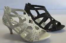 Girls Dress Shoes Pageant Heels (S37) Toddler Flower Girl Party  Black Silver