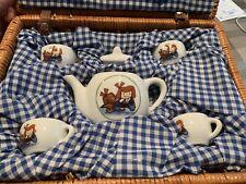 NEW Kids Travel Picnic Tea Party Tea Set Basket
