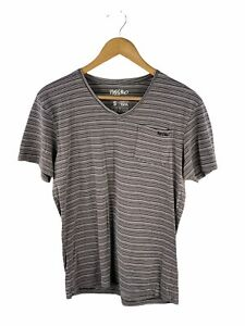 Mossimo Short Sleeve Logo T Shirt Mens Size S Brown Striped V Neck Pocket Casual