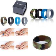 4 Pack MenS Silicone Wedding Rings Stackable Crossfit Gym Fitness Active Qalo