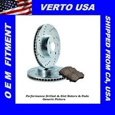 Rear Kit Drill & Slot Disc Brake Rotors & Pads  For 2005-2014 Ford Mustang