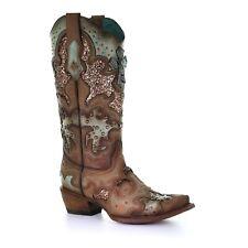 Corral Damas tabaco, incrustación de brillo, bordados, Pernos & Conchos boots C3595