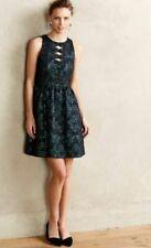 Nanette Lepore Dress Jacquard Diamond Sliced Green Teal Metallic Cut Out 4 S