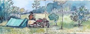 Western France 1954 Lovely Sketchbook of Drawings From a Motorbike Camping Trip