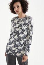 LONG TALL SALLY Black Grey Floral Long Jumper Tunic Size 12 Side Splits Boxy NWT