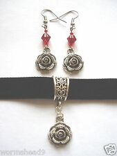 Victorian Gothic rose pendant black velvet choker & red glass earrings set