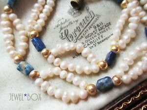 VINTAGE REAL CULTURED SEED PEARL & Blue Stone Loop NECKLACE BRIDAL SPECIAL GIFT