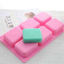 6 Holes Pink Rectangle FilletSoap DIY Cake Chocolate Mold Silicone for Homemade