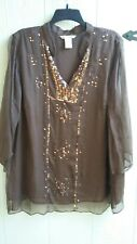 Edward...Woman Tunic Top Whispy Flowing Semi Sheer Brown w/ Sequins SIze Plus 3X
