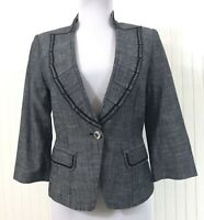 White House Black Market WHBM Blazer Jacket Size 0 XS Black 3/4 Sleeves