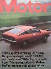 Motor magazine 16/2/1974 featuring Datsun 120Y road test, Chevrolet Camaro Z28