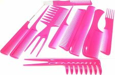 High Quality 10 Pieces Professional Comb Set Hairdressing Brush Barbers Pink
