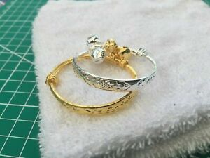 2x Silver / Gold Tone Bangles set reborn baby doll bracelets Gift Bag child girl