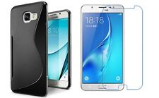 BLACK S-LINE TPU CASE + CLEAR SCREEN PROTECTOR FOR SAMSUNG GALAXY J7 2017