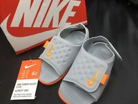 NIKE SUNRAY ADJUST SIZE 6C Toddler Kids Orange Gray Sandals - NEW IN BOX!