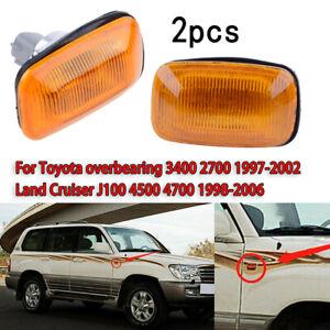 2x Side Fender Marker Turn Light Signal For Toyota Land Cruiser LC100 1998-2007