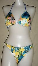 NEW Yellow Flower Pattern Lycra Bikini Swim Bathing Suit   S