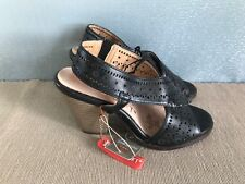 BNWT Ladies Sz 6 Rivers Brand Black Cut Out pattern High Heel sandals Shoes