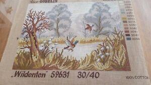 unworked tapestry 'Wildenten' (wild ducks) approx 40cm across X 30cm