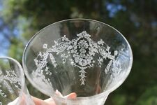 Pair Footed Etched Glasses Floral Urn Fluer Di Lis Short Stemware Cocktail Fancy